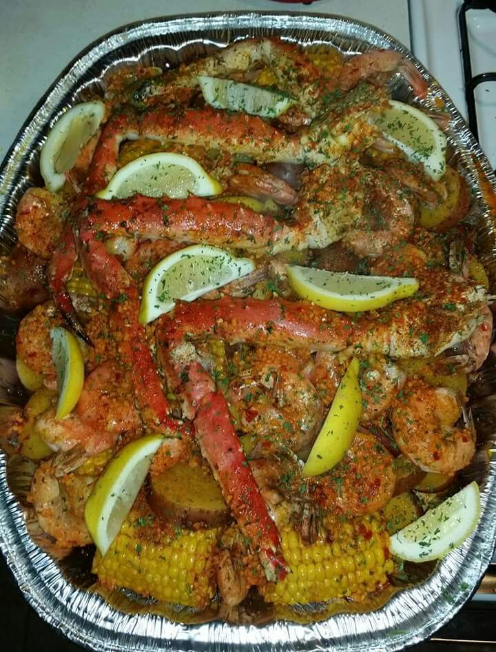 Seafood Bake Boil With Crab Legs Shrimp Potatoes And Corn