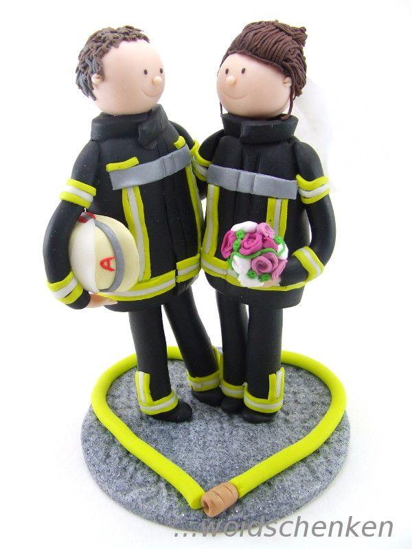 Tortenfigur Brautpaar Feuerwehr. Unsere Figur, unser Leben ♡