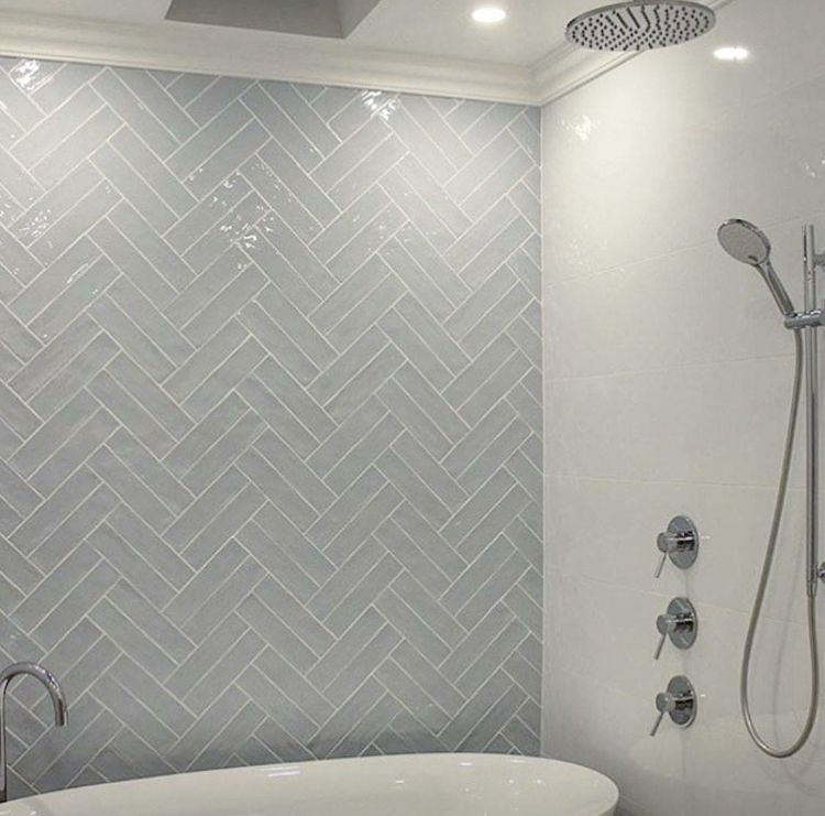 Double Herringbone Feature Wall For Shower Bathroom Feature Wall Bathroom Feature Wall Tile Herringbone Tile Bathroom