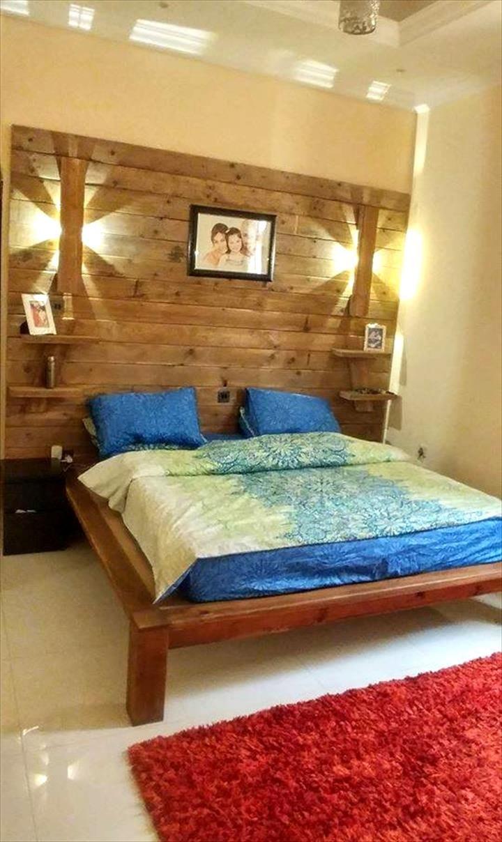 Diy pallet bed with wall headboard lamps shelf diy