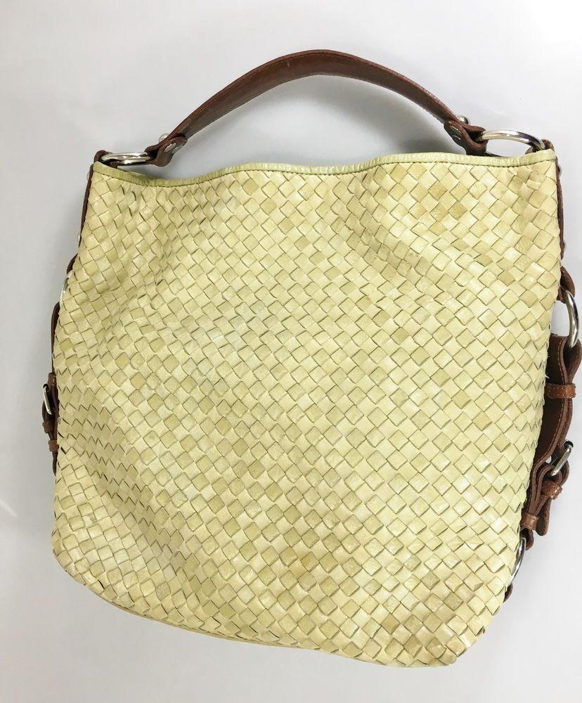82ca44a4e277 Tano Light Green Woven Leather Slouchy Hobo Large Shoulder Bag Handbag Tote   Tano  HoboShoulderBagTote