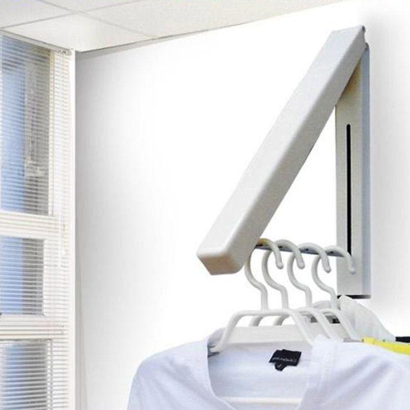 Folding Wall Mounted Retractable Clothes Racks Indoor Balcony
