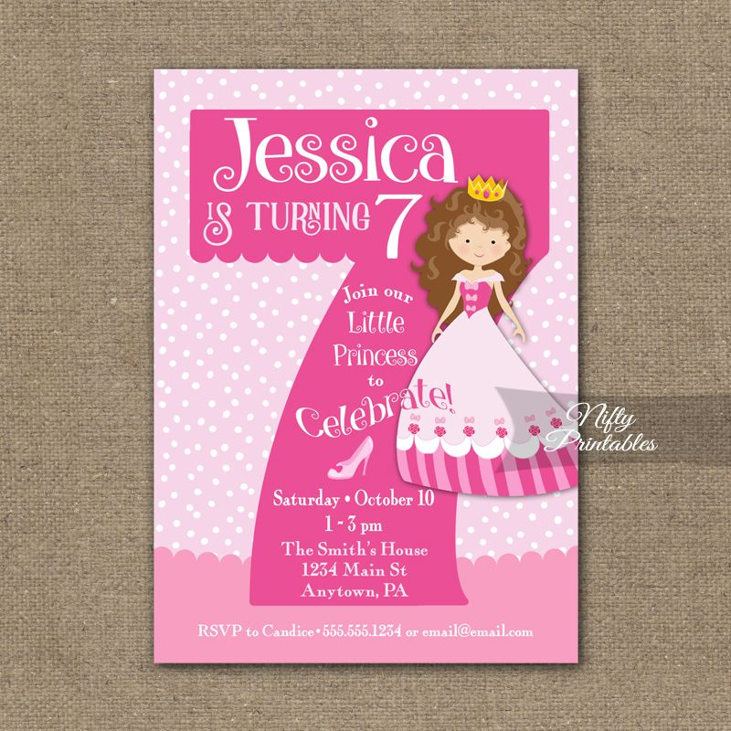 Princess 7th Birthday Invitations Brunette Girl Printed Nifty Printables 2nd Birthday Invitations Princess Invitations Pink Invitations