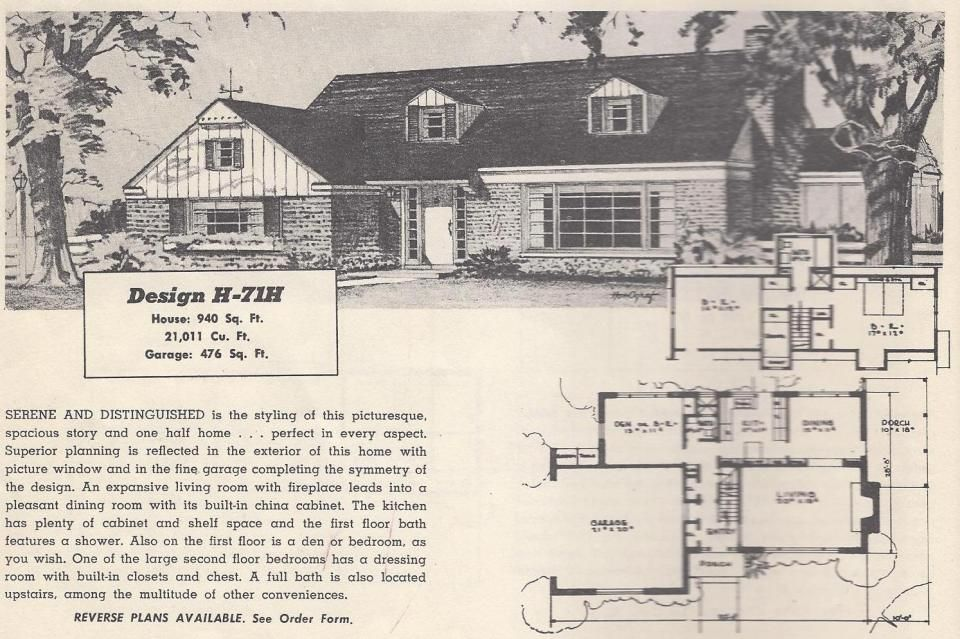 Vintage house plans mid century homes 1950s homes