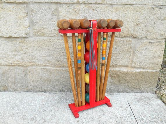Complete Wooden Croquet Set With Yellow Wood Stand Six