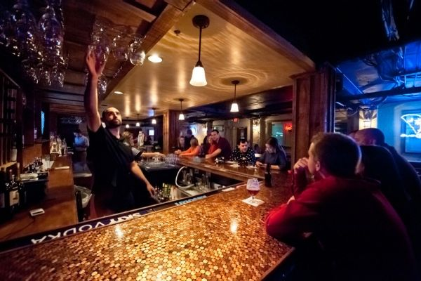 Penny Bar Top! | Penny backsplash, Creative flooring ...