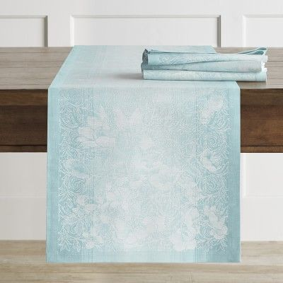Ombre Floral Jacquard Table Runner Aqua Blue Striped Table