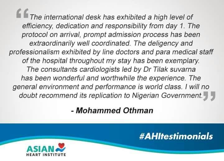 Here's a heartfelt testimonial. #AsianHeartInstitute #AHITestimonials