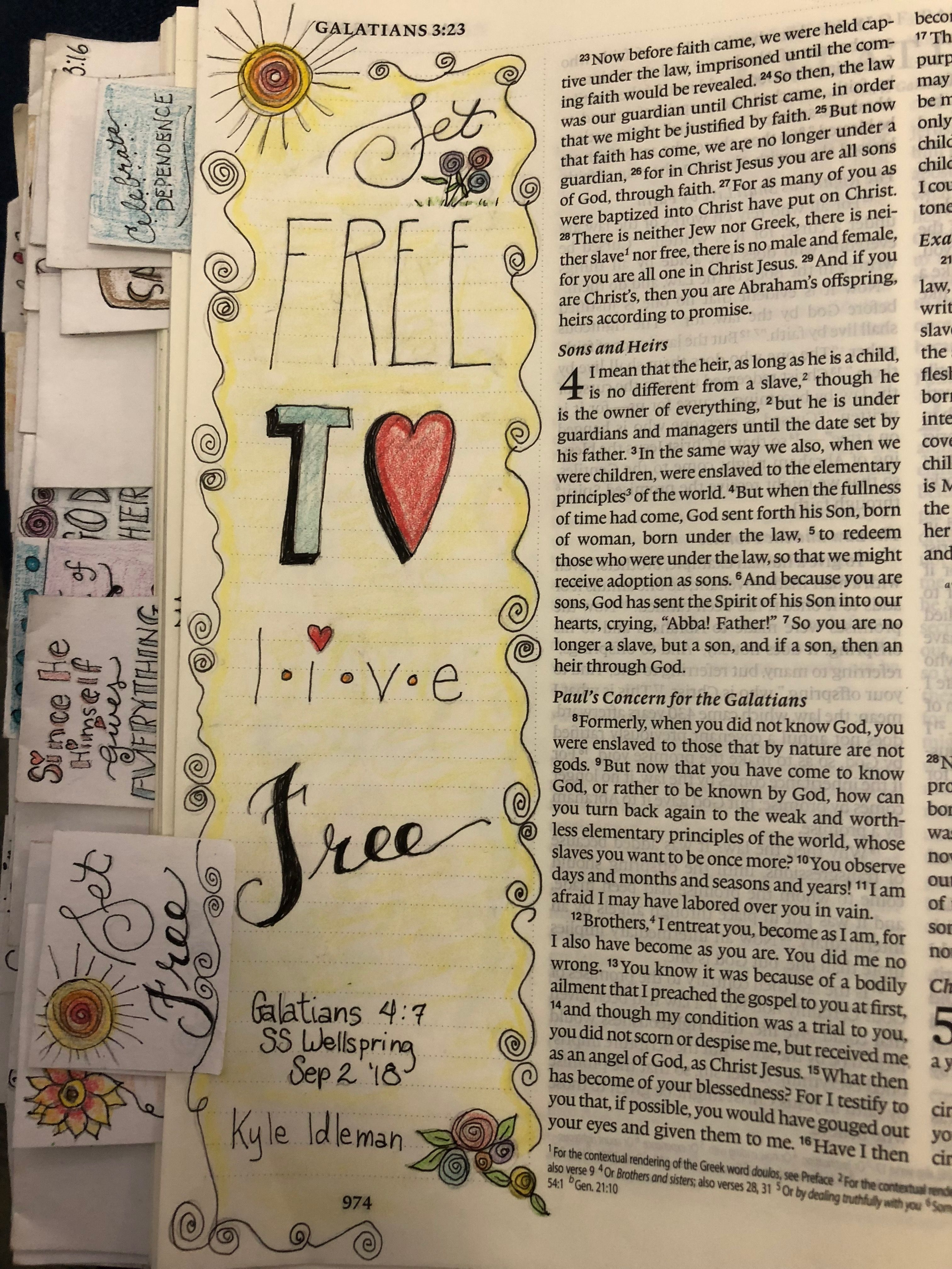 Set Free to Live Free   My Bible Journal Pages   Bible art
