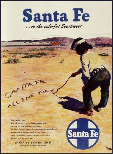 Santa Fe 1950 All The Way Southwest Vintage Poster Print Railroad Train Travel
