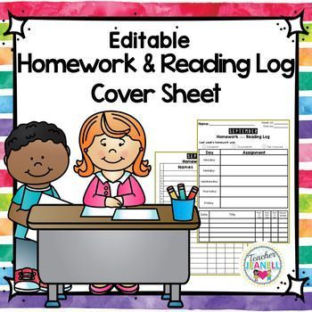 Homework Cover Sheet with Reading Log - Editable (Back to School