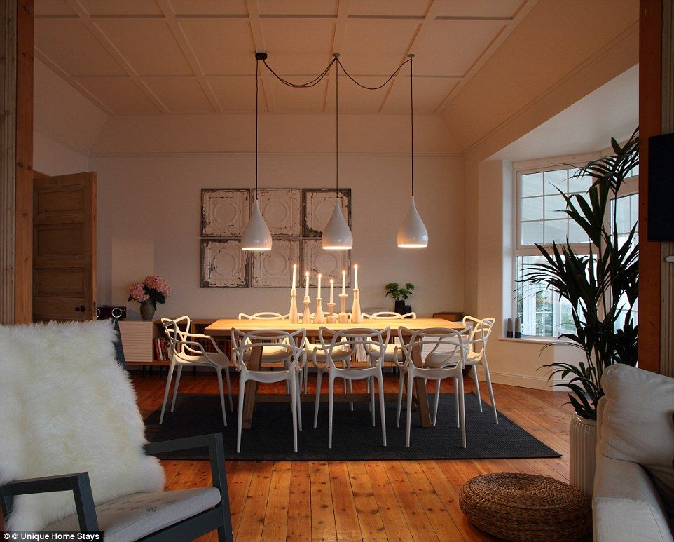 Entertain Up To Six Guests On The Dining Room Table Which Has Three Modern Lights