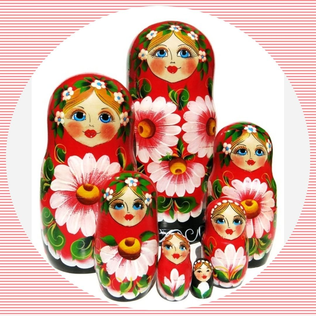 10 Pieces Wooden Babushka Russian Nesting Doll Hand Painted Colorful Flower