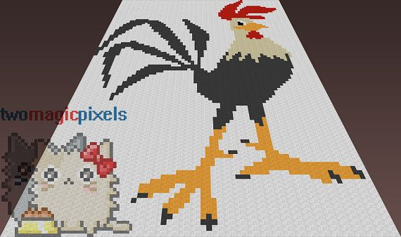 Rooster Crochet Graphpattern Jpg And Pdf By Twomagicpixels