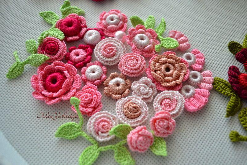 Crocheted flowers. Rose.Pink. Raspberry. Irish by AlisaSonya