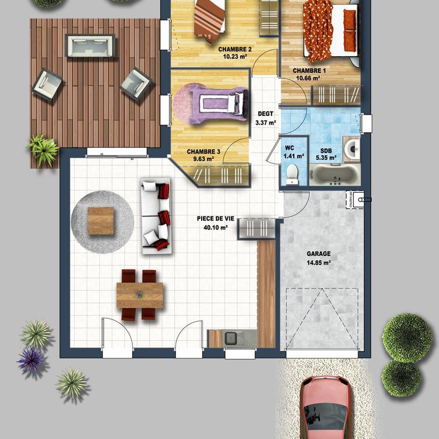 Prix pour une maison de plain-pied au 1er Juillet 2017, 3 chambres d - prix d une construction de maison