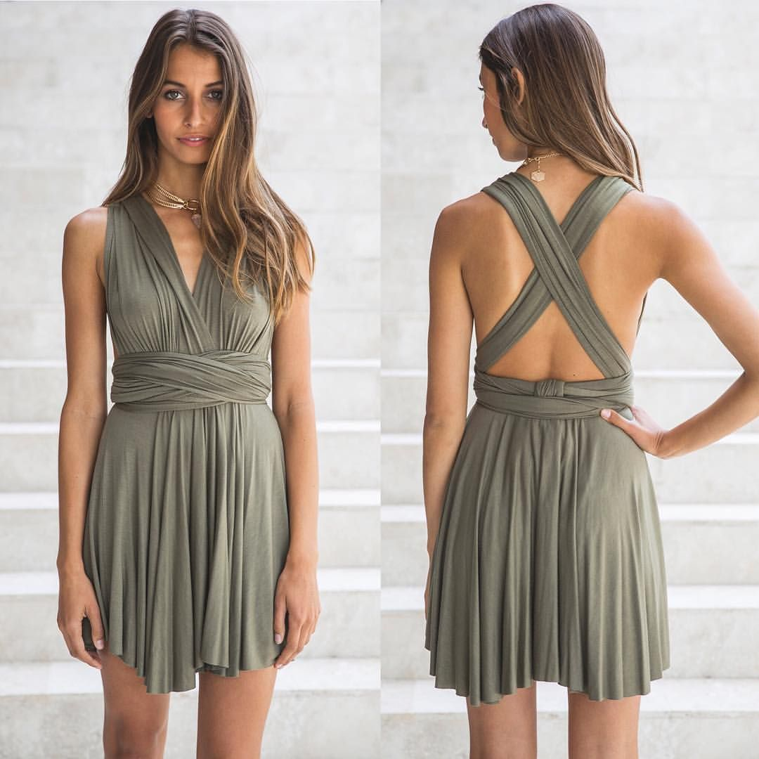 NEW! // VOLTAGE SWING Dress Khaki  Also available in Grey! This gorgeous swing dress can be tie up and wrapped so many ways!! Shop  www.whitefoxboutique.com or click the link in our bio