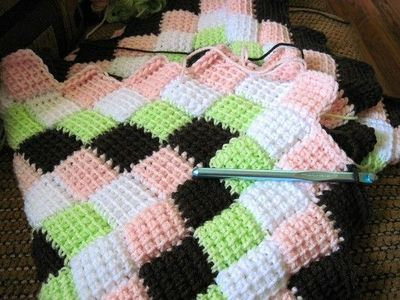 Free Pattern Entrelac Tunisian Crochet Baby Blanket Link To Video
