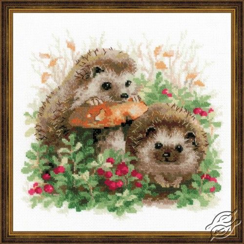 Hedgehogs in Lingonberries - Cross Stitch Craft Kits by RIOLIS - 1469