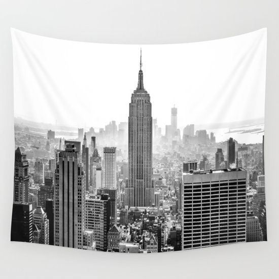 New York City Wall Tapestry Architecture Black White Photography Tapestry Tapestry Bedroom