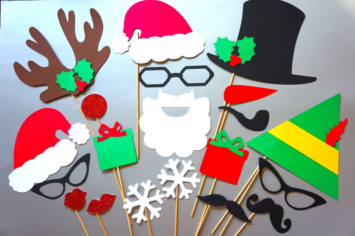 Christmas Party Ideas For Family And Friends Part - 38: Family Photo Christmas Props - 20 Piece Set - GLITTER Photobooth Props -  Ultimate Holiday Collection
