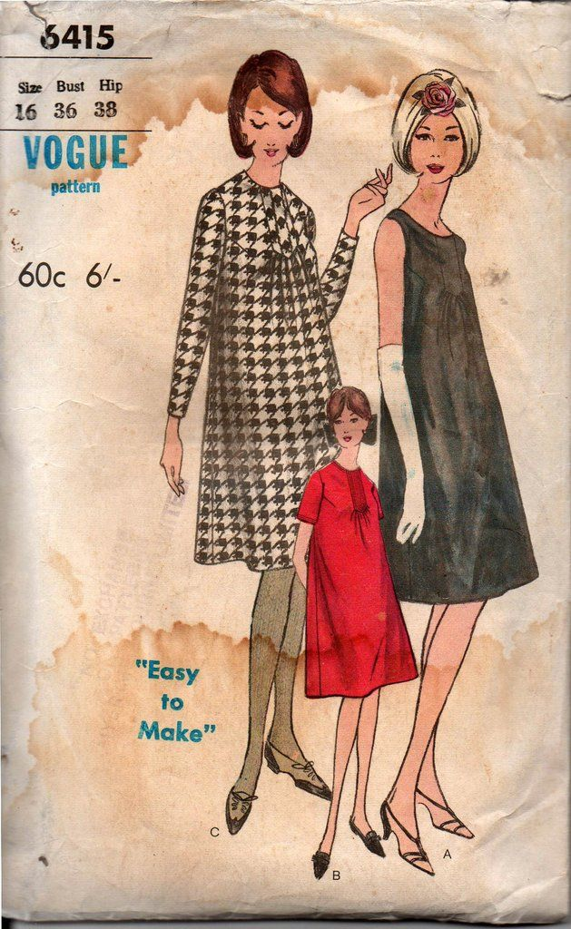 eb9eca48c2d Vogue 6415 60s Vintage Maternity Dress Pattern Size 16 Bust 36 inches