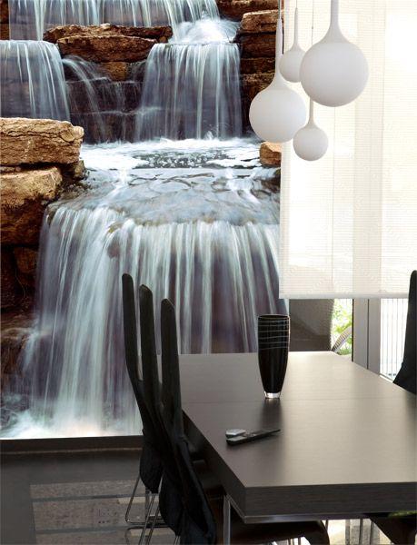 Fotomurales cascada y piedras fotomurales waterfall - Fotomurales para banos ...