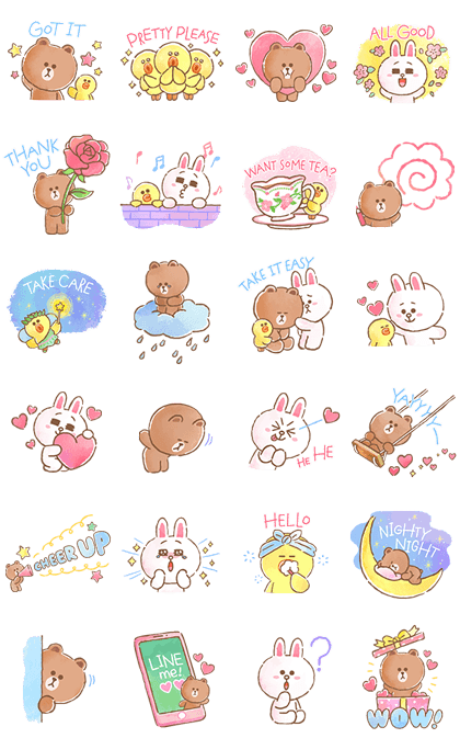 BROWN & FRIENDS warm and sweet watercolor Sticker for