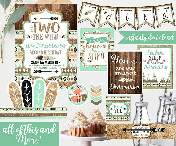 Two 2 Wild Birthday Mint and Gold Second 2nd Birthday