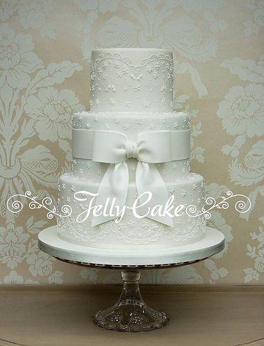 White Lace and Bow Wedding Cake
