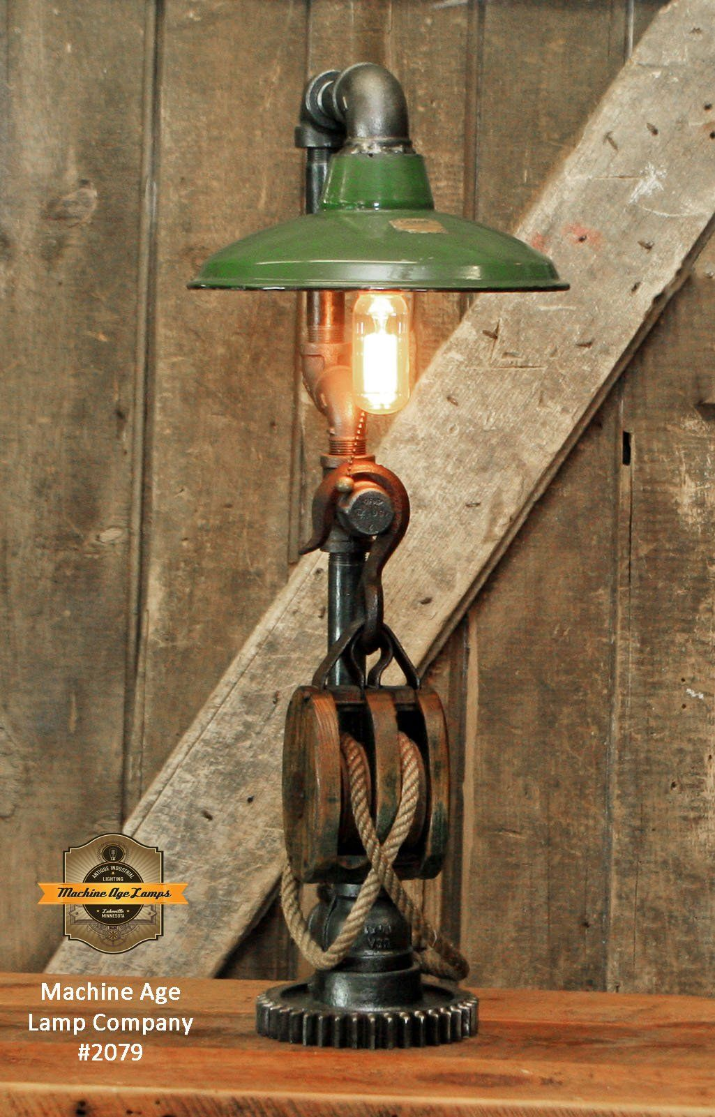 Steampunk Machine Age Lamps Barm Pulley Green Shade Gear Lamp 2079