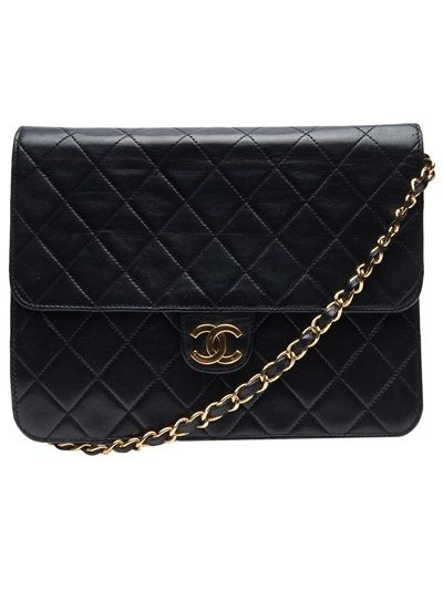 9853ef408aa4 One day... sigh Quilted envelope bag in black from vintage Chanel. This quilted  leather shoulder bag features a leather and chain shoulder strap