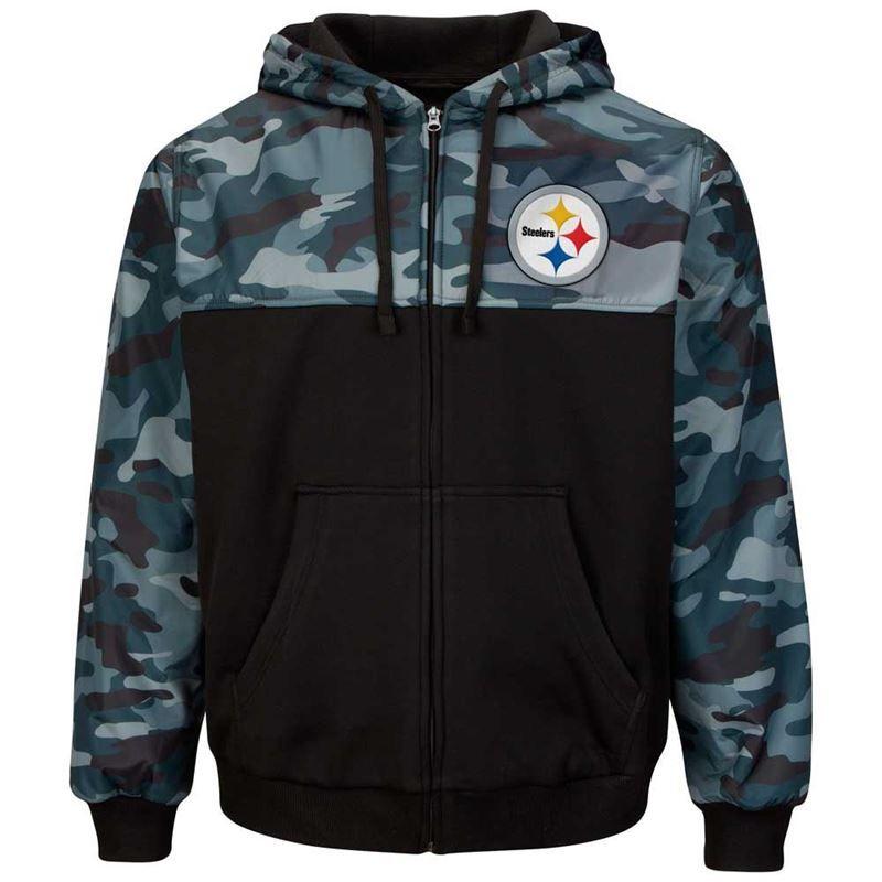 newest c51bd 7f6c6 Pittsburgh Steelers Crossover Camo Full Zip Fleece Jacket ...
