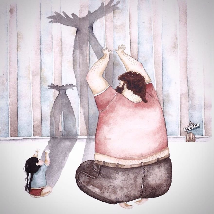 Heartwarming Illustrations About The Love Between Dads And Their Little  Girls   Watercolor illustration, Painting, Illustration