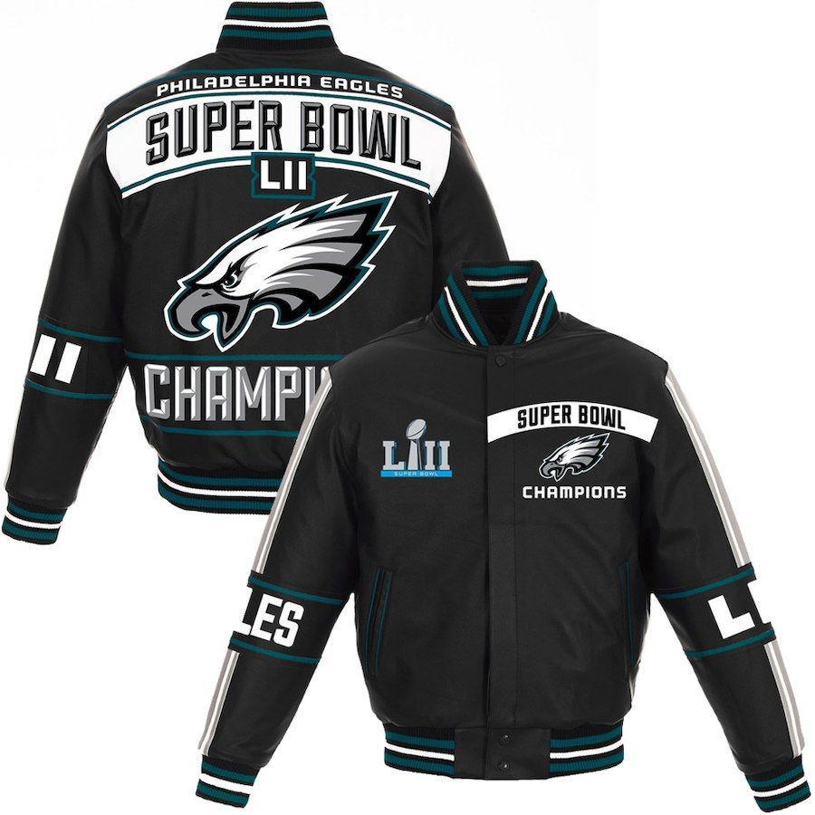 51886984 Philadelphia Eagles NFL Pro Line by Fanatics Branded Super Bowl LII  Champions Full-Snap Leather Jacket – Black