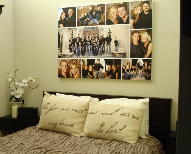 Wall Collage Frames | Family photos hung over the bed on canvas w ...
