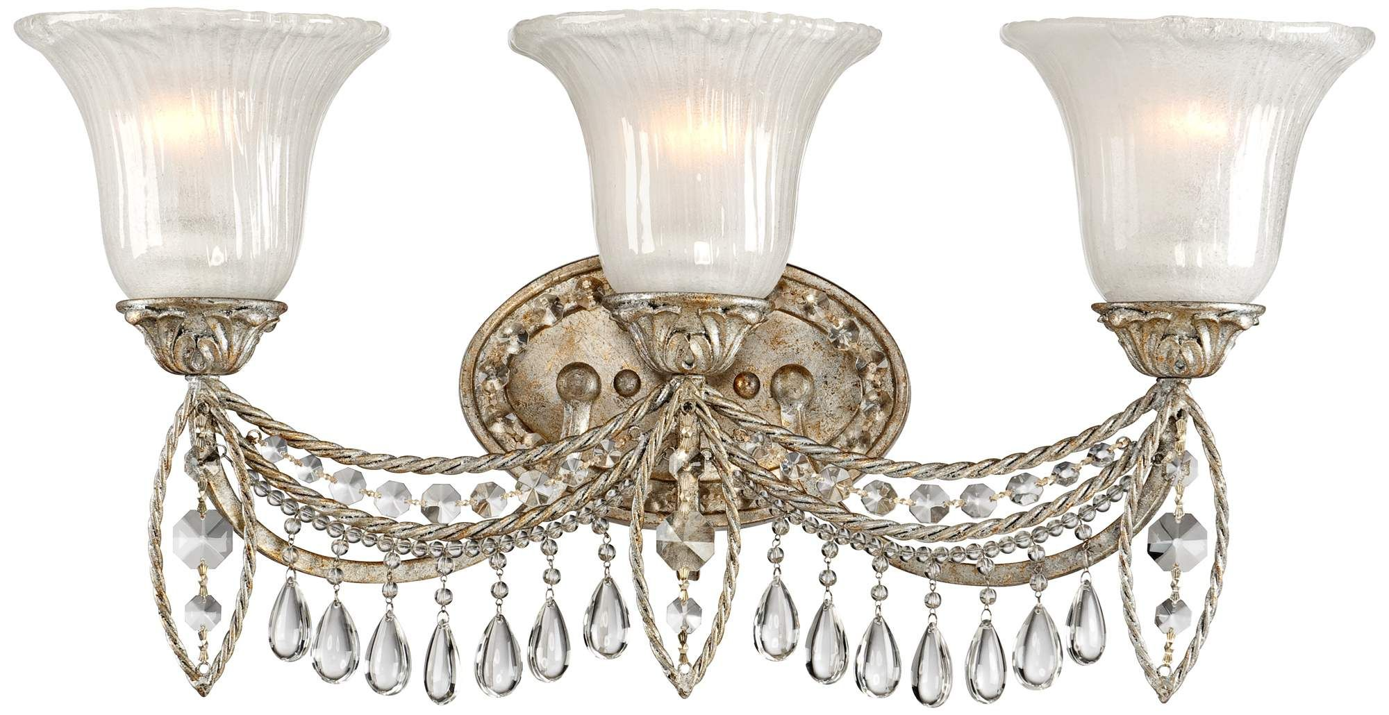 Antique silver and crystal 3 light bath fixture a home of the past - Bathroom chandeliers crystal ...