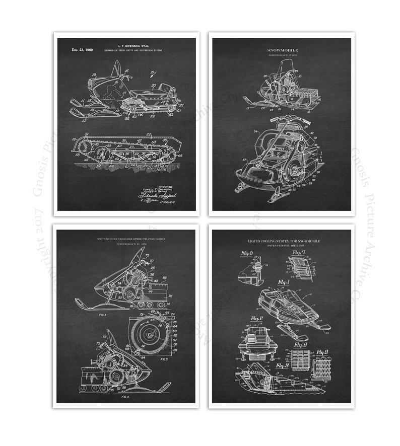 Snowmobile Wall Art Set Of 4 Unframed Art Prints Snowmobile Etsy Unframed Art Prints Art Set Unframed Art