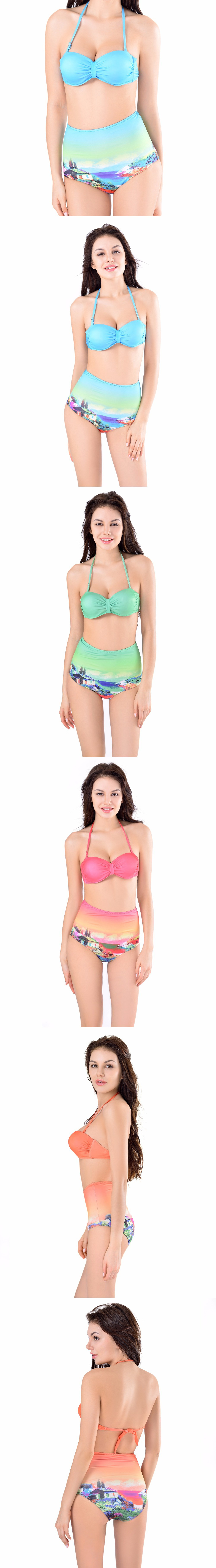 X-HERR High Waist Bikini Halter Two Piece Swimsuit for Women Push up Printed Ladies Bikinis High Quality Sexy Bathing Suit $19.29