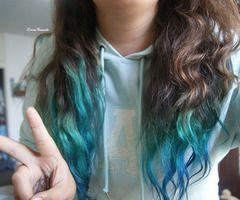 Blue Dip Dyed Tips Hair