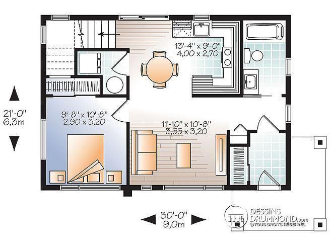 Plan de Rez-de-chaussée Micro maison contemporaine à étage, 2