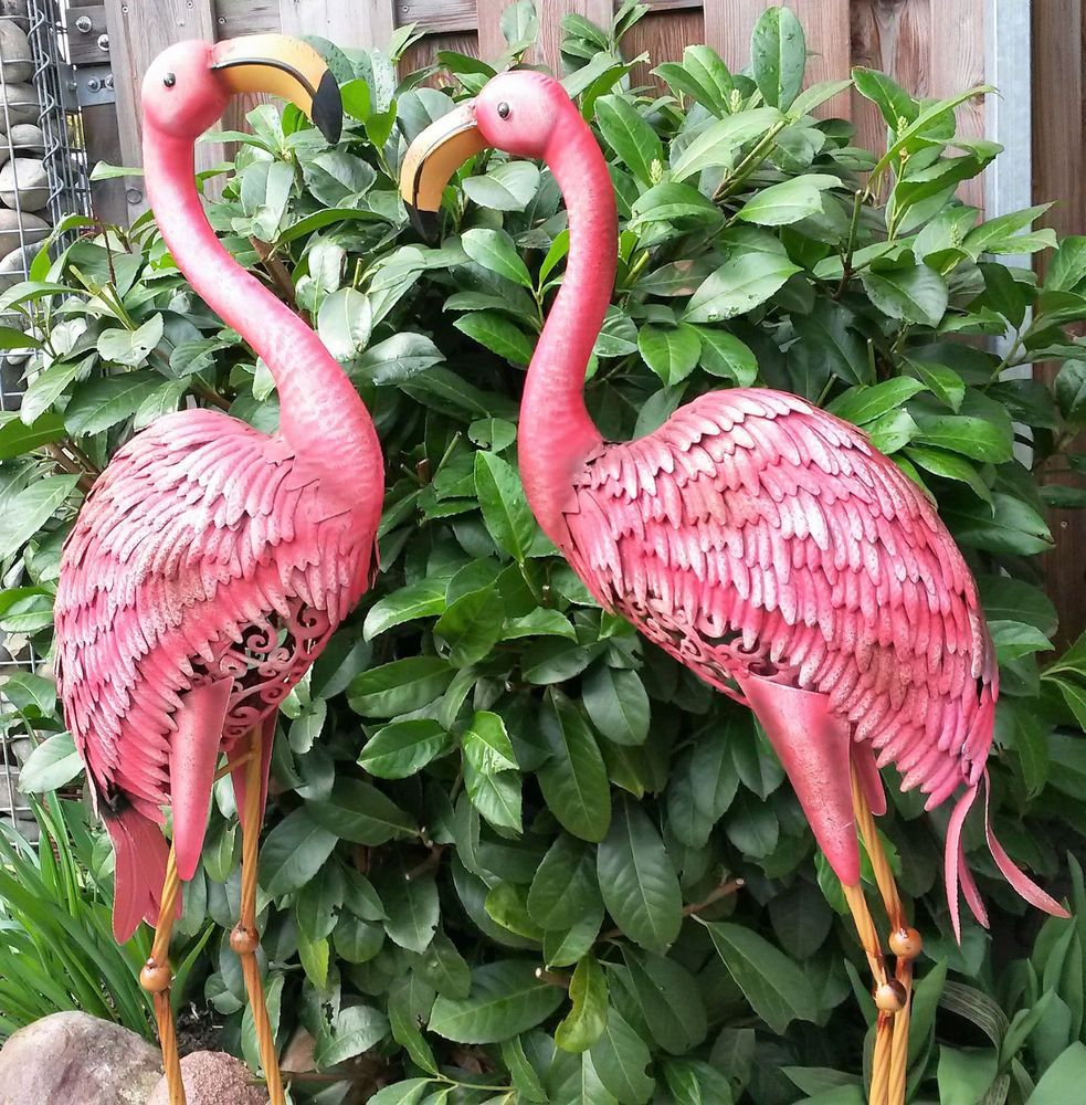 flamingo 2er set gartenfigur metall figur bunt tier vogel. Black Bedroom Furniture Sets. Home Design Ideas