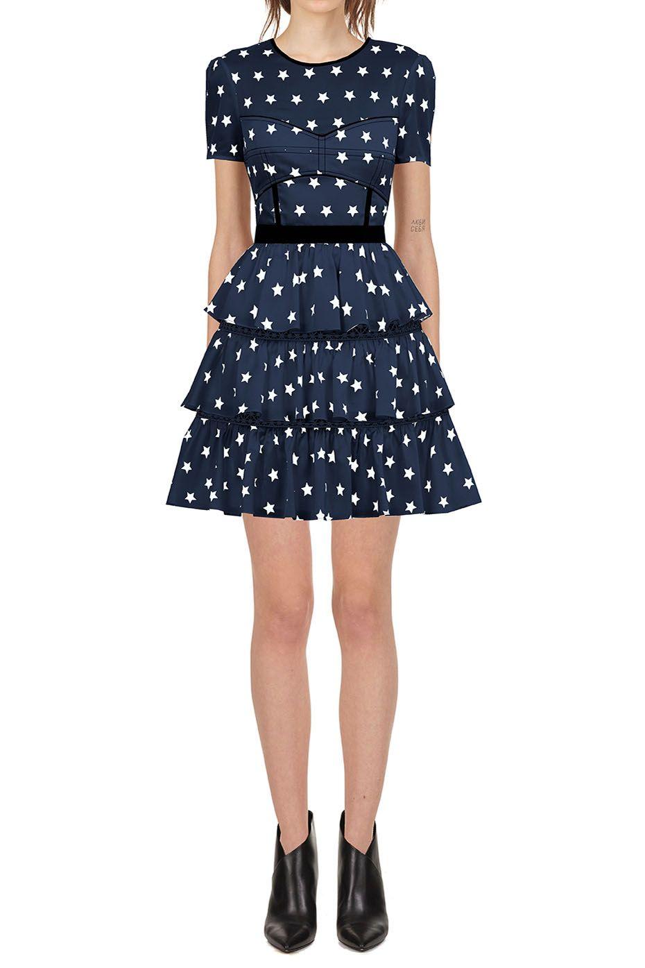 a6c89a93d8d Self Portrait Satin Star Printed Tiered Dress