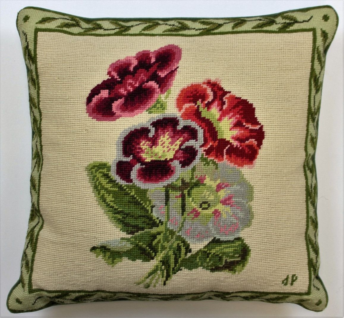 Roses & Leaves Needlepoint Pillow
