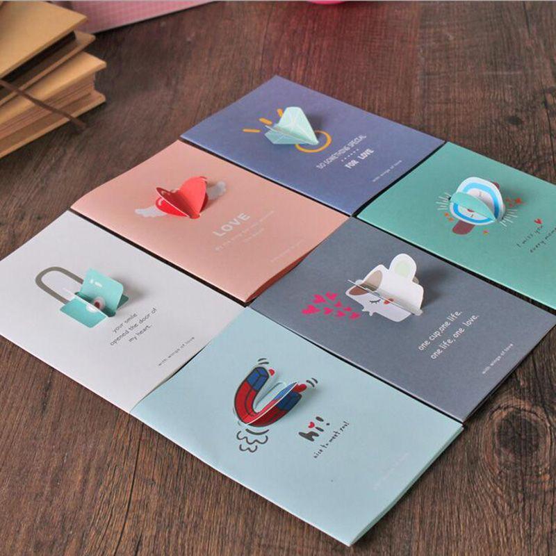 2sets Creative Folding 3D Modeling Valentineu0027s Greeting Cards - invitation card decoration