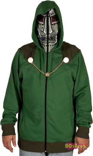 This Dr. Doom full zip hood covers your face with the grill of the iconic  Marvel character. Dr. Doom is so popular that he has been a recurring  character in ... 97f0b30a8d2