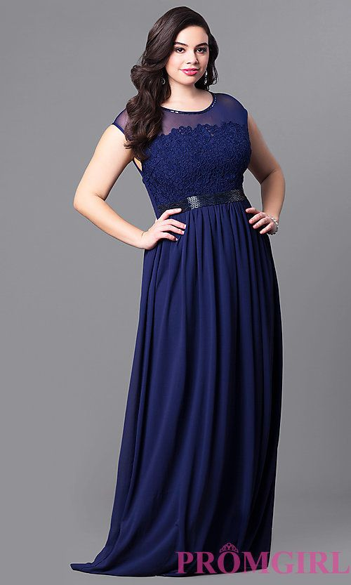 image of long plus-size cap-sleeve prom dress with lace bodice