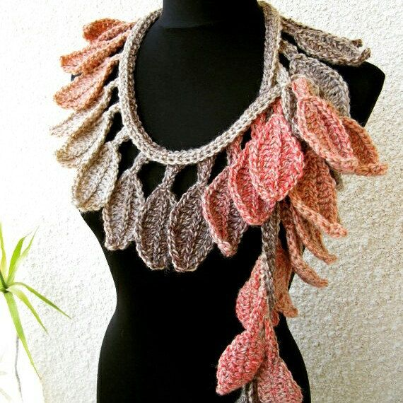 autumn leaves fall handmade scarf lariat beautiful and