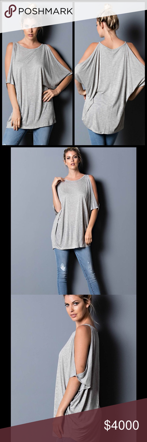 SALE!! GRAY CUT OUT SHOULDER TOP Heather Gray Cut Out Shoulder Top. Very trendy & lightweight material that is soft & comfy. Super cute with boyfriend jeans. Sizes S, M, L. Rayon. Price is final. Tops
