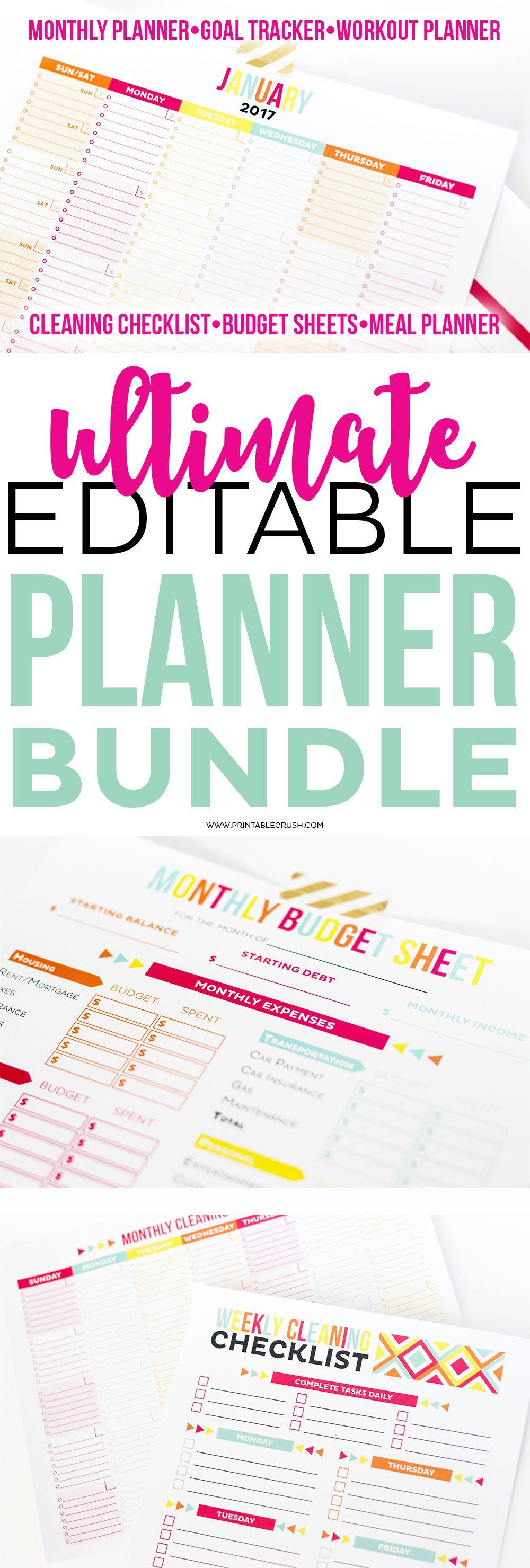 Ultimate Editable Planner Bundle Set of 5 (20off